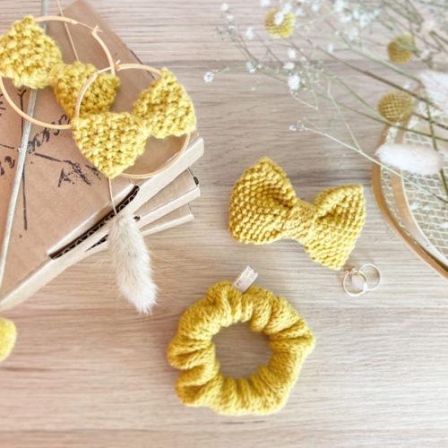 Coffret Cadeau-Fête des mères- Barrette, chouchou et boucles d'oreilles- tricotés main-Mignonnery
