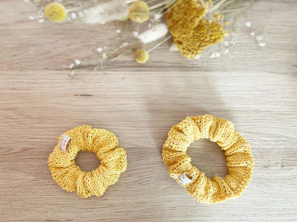 Chouchoux d'été-Accessoires cheveux tricotés en coton Jaune moutarde Grand et Petit modèle-Mignonnery