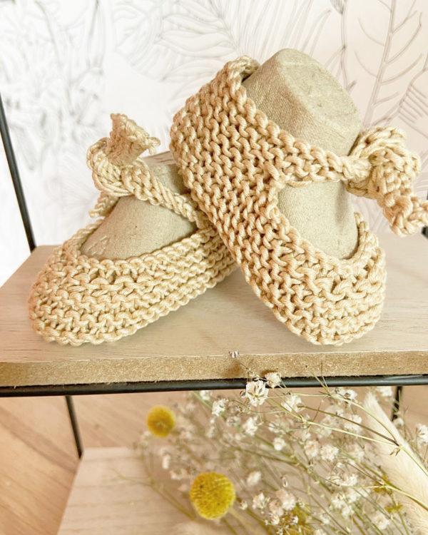 Sandale d'été couleur sable tricotées main en coton-Mignonnery