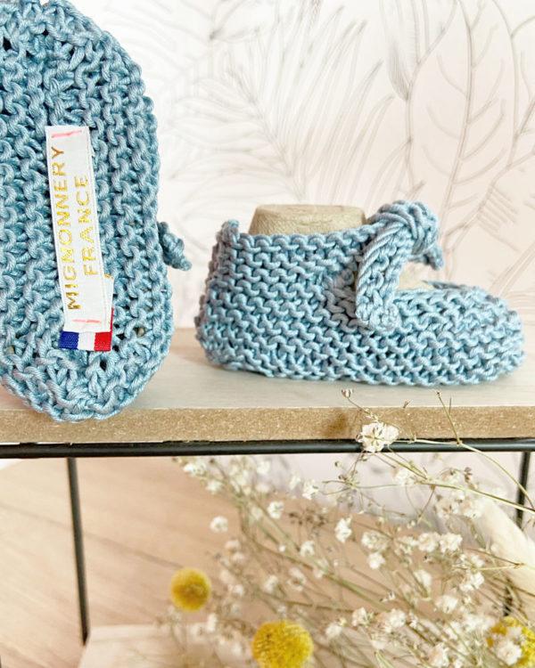 Semelle des Sandales d'été couleur aigue-marine tricotées main en coton-Mignonnery