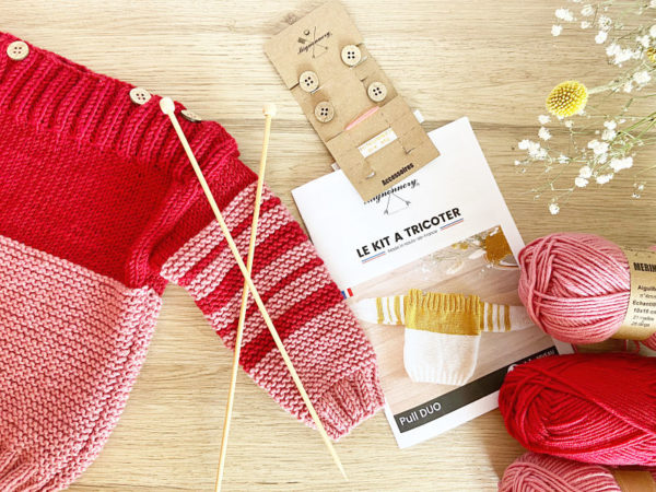 kit pull duo Rouge et rose-Mignonnery