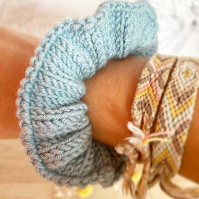 Chouchou cheveux d'hiver femme Bleu Orage-Tricoté main en laine-Mignonnery