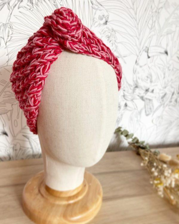 Bandeau cheveux Femme Étoile-Laine chiné Rouge Cerise et Bois de Rose-Tricoté-Mignonnery