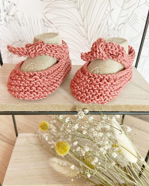 Sandale d'été couleur rose tricotées main en coton-Mignonnery