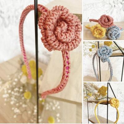 Serre-tête une rose tricoté en coton rose, bleu et jaune-Mignonnery