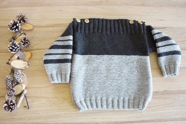 Pull Duo -24 mois- Col bateau à rayures Gris souris et Gris acier tricoté à la main en laine mérinos-Boutons coco-France-Mignonnery