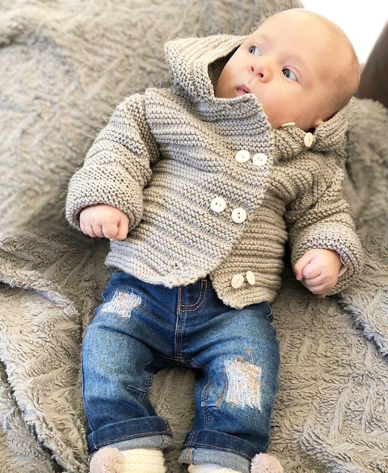 Manteau Benoit en laine beige double boutonnage blanc-Mignonnery