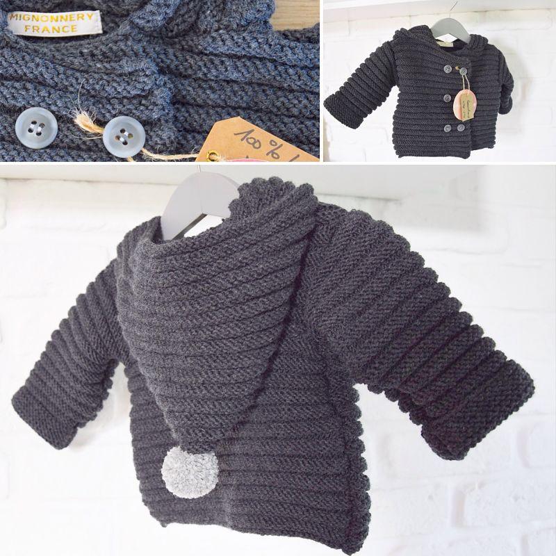 Manteau Benoit en laine gris acier double boutonnage gris-Mignonnery