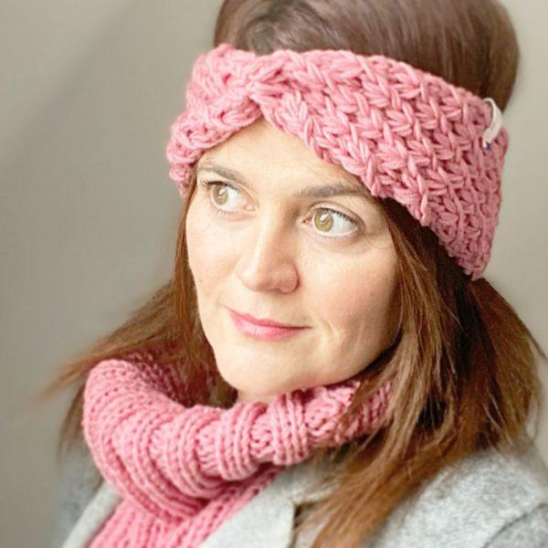 bandeau femme Etoile-Headband tricoté main-laine mérinos- Mignonnery