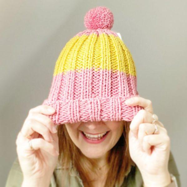 Bonnet femme flocon-Tricoté main laine mérinos-Mignonnery