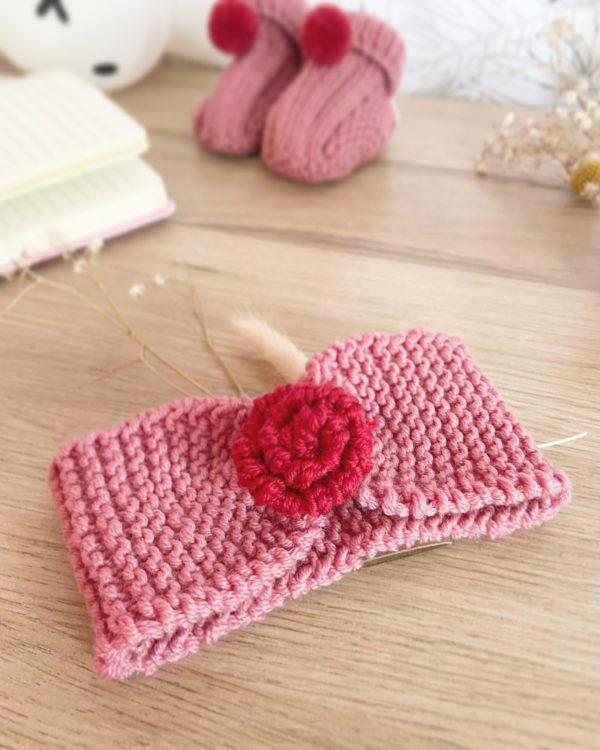 bandeau bébé en laine rose+rouge 1 fleur-tricoté main-Mignonnery