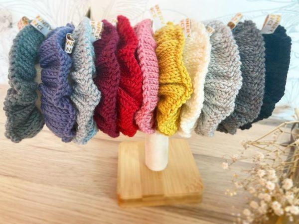 Gamme de coloris Chouchou cheveux d'hiver femme -Tricoté main en laine-Mignonnery