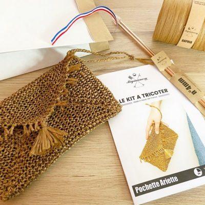 Kit tricot débutant-Pochette Raphia Ariette-Mignonnery