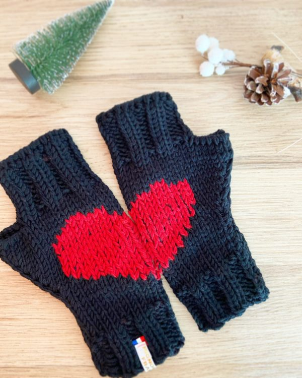 mitaines cœur femme-Gants laine mérinos tricotés mains Noir