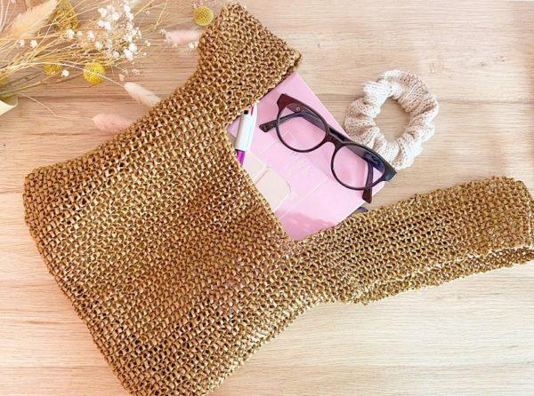 Kit tricot débutant, facile à réaliser-Le sac Kyoto en Raphia-Mignonnery